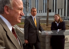 DENVER, CO, DEC. 20, 2004 - John Ramsey, left, appears in federal court in Denver today for a hearing on a defamation case filed against Fox News. To the right are his lawyers, L. Lin Wood, and Katherine M. Ventulett. (DENVER POST STAFF PHOTO BY KATHRYN SCOTT OSLER)