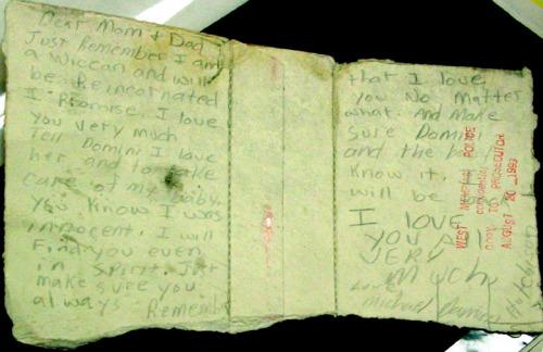 Damien suicide note