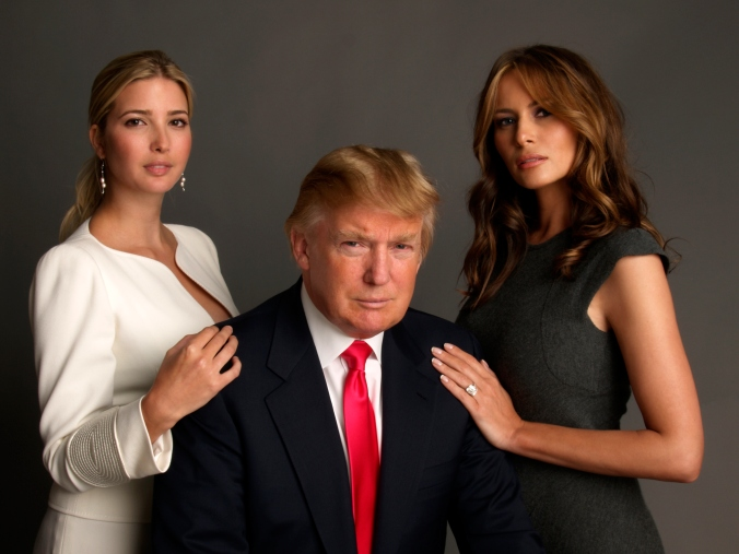 Ivanka Trump, Donald Trump and Melania Knauss