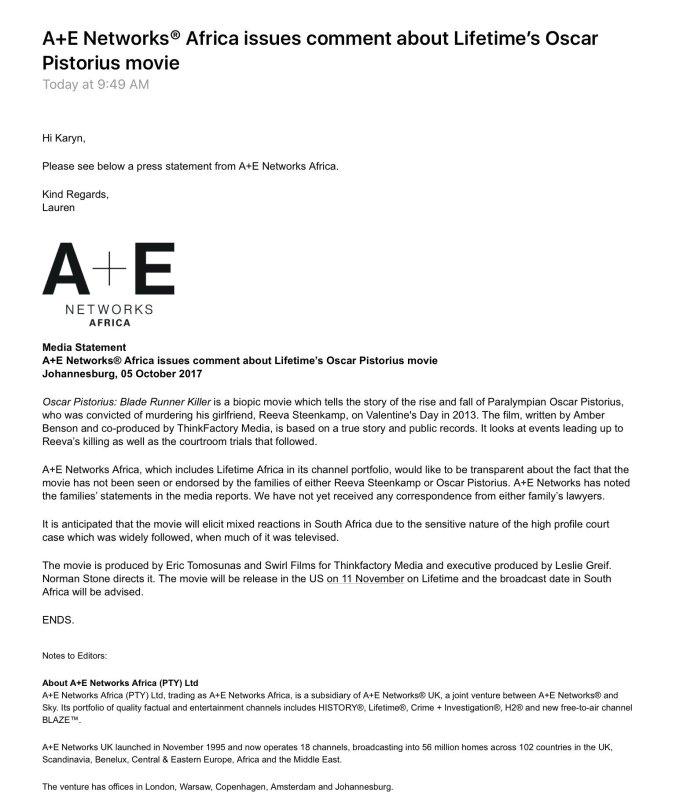 A+E Press Release