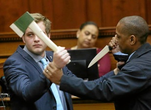 November 02, 2017. Henri van Breda demonstrates how he fight off his attacker inside the Western Cape High Court. PICTURE: ESA ALEXANDER/THE TIMES