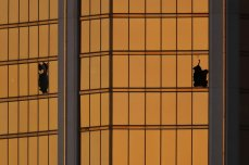 Morning light reflects off the Mandalay Bay hotel and the broken windows where shooter Stephen Paddock conducted his shooting spree from the 32nd floor in Las Vegas, Nevada, U.S., October 3, 2017. REUTERS/Mike Blake