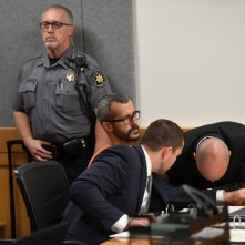 GREELEY, CO - AUGUST 21: Christopher Watts is in court for his arraignment hearing at the Weld County Courthouse on August 21, 2018 in Roggen, Colorado. Watts faces nine charges, including several counts of first-degree murder of his wife and his two young daughters. (Photo by RJ Sangosti/The Denver Post)